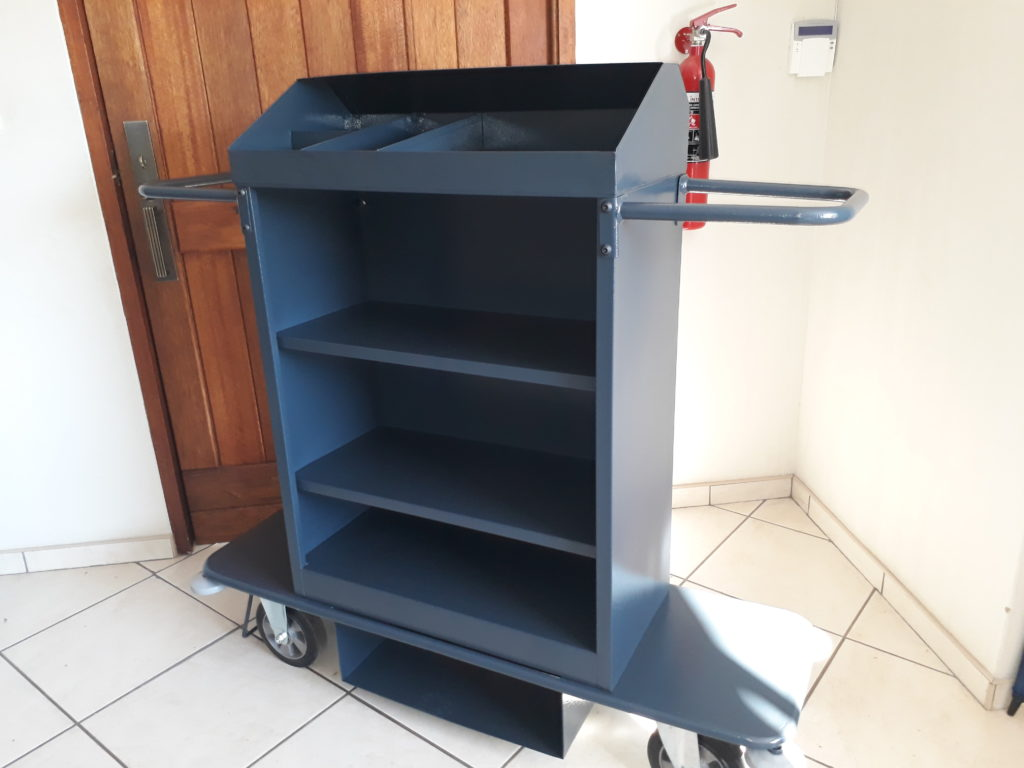 steel powder coated hospitality housekeeping trolley